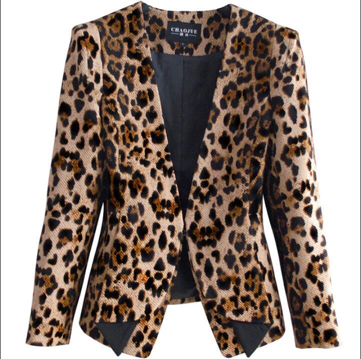 Sans Manteau Automne Col Court Femelle Boucle Manteaux Conception Mince Femmes Printemps Costumes 3xl Veste Léopard Jaune Blazers V zgzvf6nwx