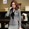 2016 New Korean Fall winter fashion women V-neck suits skirt career OL blazer and skirt office coat Jackets gray plus size sets