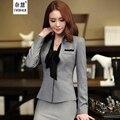 2016 Nuevo invierno de Corea del Otoño mujeres de la manera V-cuello trajes de falda de carrera oficina OL blazer y falda abrigo Chaquetas gris tallas grandes conjuntos