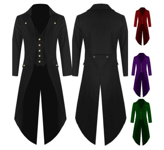 S-5XL Plus Size Men's Coat Fashion Steampunk Vintage Tailcoat Jacket Gothic Victorian Frock Coat Men's Uniform Costume