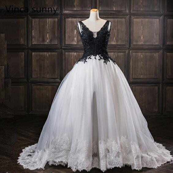 White With Black Wedding Gowns: Robe De Mariage Elegant Gothic White And Black Wedding