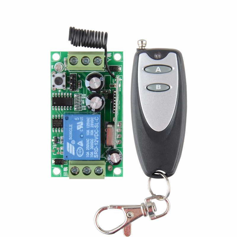 DC 12V Remote Control Switch 1CH 10A Relay Receiver Door Access Control Light Lamp LED  ON OFF Wireless Power Remote Switch 315 433mhz 12v 2ch remote control light on off switch 3transmitter 1receiver momentary toggle latched with relay indicator