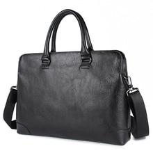 Genuine Leather Laptop Briefcases Leather Business Bag Messenger Bag Men Real Leather Handbag 7406A