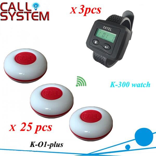 Système d'appel bouton serveur 3 téléavertisseur avec sonnerie invité 25 pièces pour le service