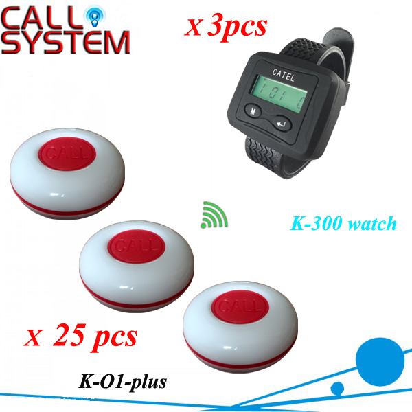 Waiter button calling system 3 wrist pager with 25 pieces guest buzzer for service