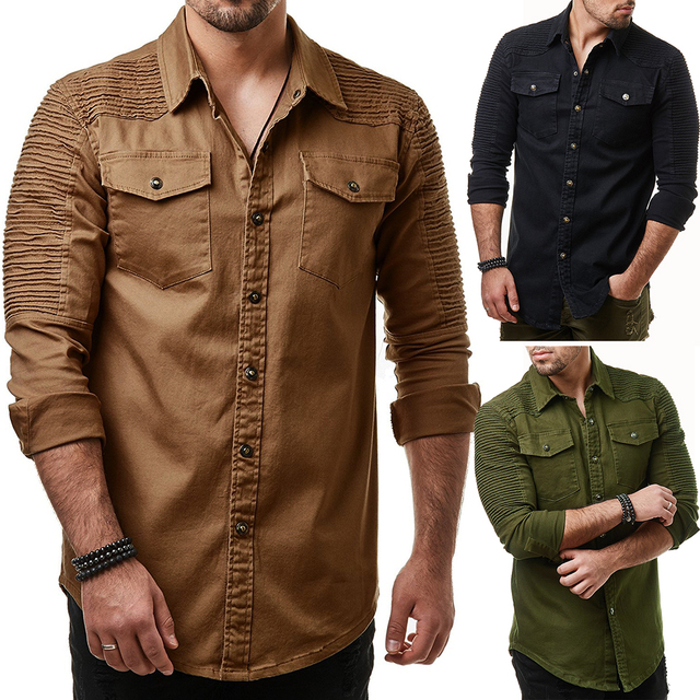 b5383455a1a Brand 2018 Fashion Jeans Shirt Long-Sleeves Washable Cowboy Shirt Pocket  Decoration Mens Dress Shirts
