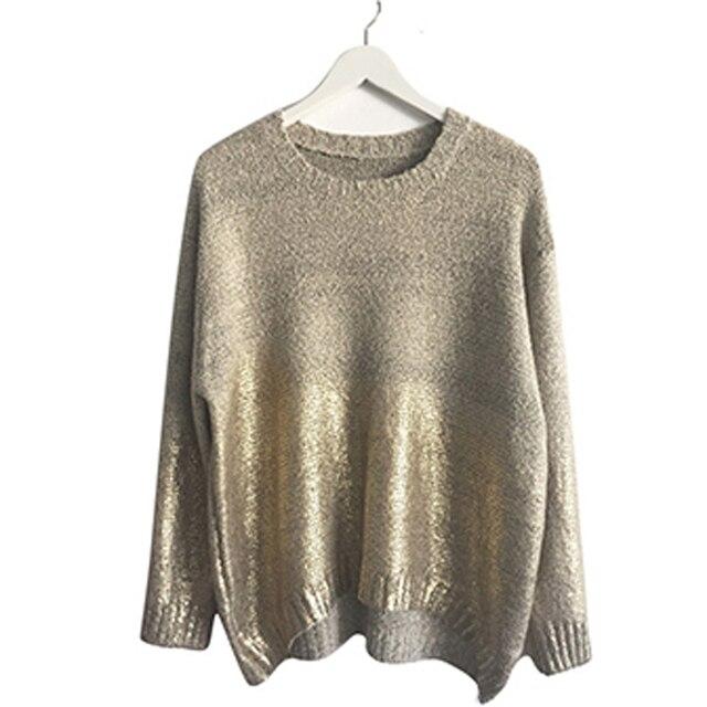Мода 2016 Женщин Золотой Градиент Перемычки Негабаритных Пуловер Дамы Свободные Свитера Плюс Размер Bat рукава Блузки Топы Трикотаж