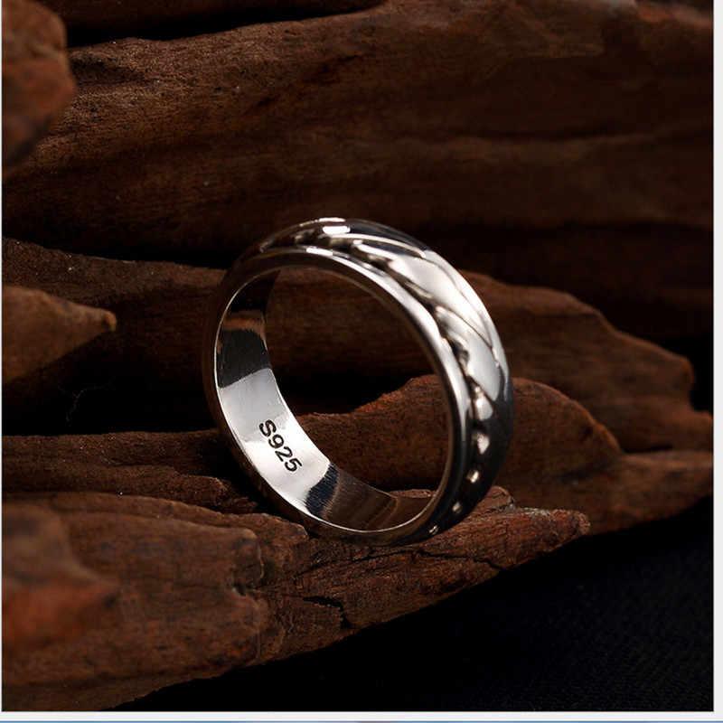 Uglyless แท้ 925 เงินแหวนคนรักสานแหวนบิดหมุนโชคดีเครื่องประดับแหวนผู้ชายผู้หญิง Bijoux