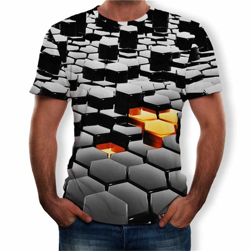 LOSKY Для мужчин модные с цифровым 3d-рисунком футболка Повседневное с О-образным вырезом, короткий рукав Топ Футболка большого размера S-5XL Для мужчин s брендовые рубашки Костюмы