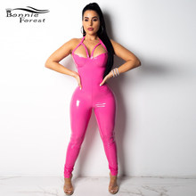 c1aef331e396 Bonnie Forest Bubble Gum Pink Vinyl Jumpsuit Tight Shiny Skin Leather  Jumpsuits Sexy Cut Out One