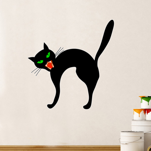 Halloween Angry Black Cat Wall Sticker Hallowmas Wedding Decoration Vinyl Waterproof Wallpaper Room Decal Removable