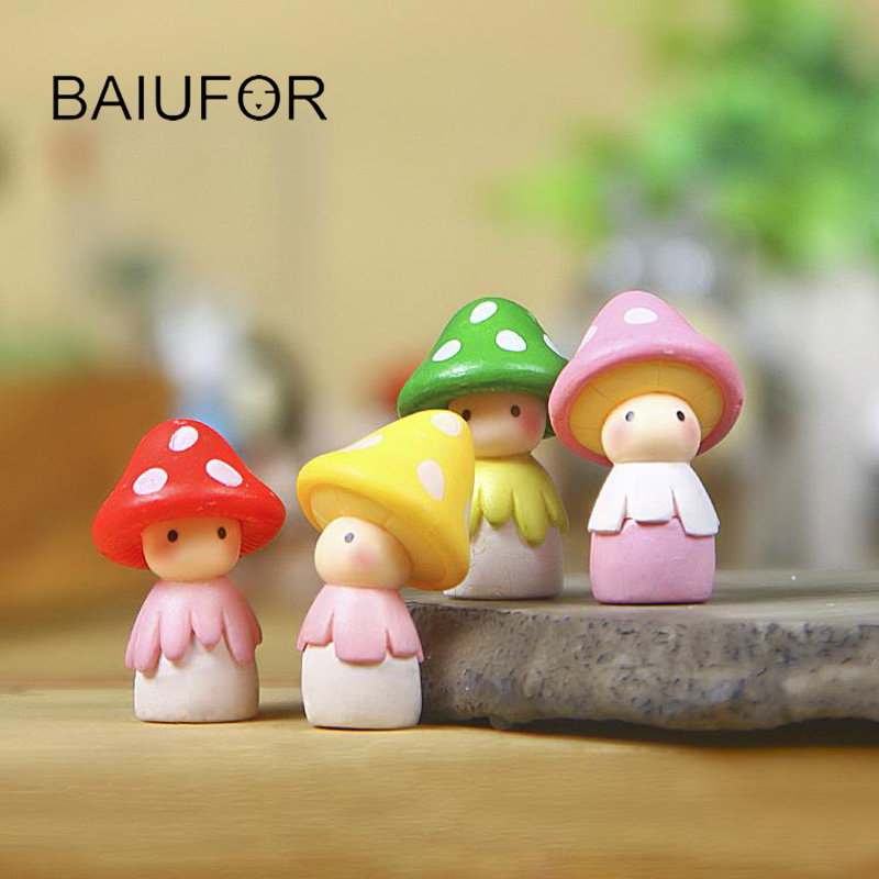 BAIUFOR Cartoon Mushroom Doll Fairy Garden Miniatures DIY Terrarium Figurines Craft Succulents Decor Home Decoration Accessories