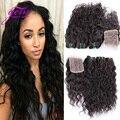Pelo peruano de la Virgen Con el Encierro 4 unids Mucho Peruana Water Wave Hair Bundles con el Cordón Cierres Pelo Rizado Peruano Con cierre