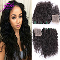 Peruvian Virgin Hair With Closure 4pcs Lot Peruvian Water Wave Hair Bundles with Lace Closures Peruvian Curly Hair With Closure