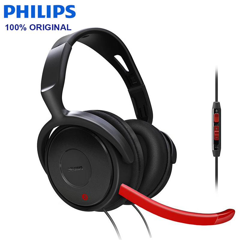 Philips SHG7980 Wired Headphone Support Video Game wiht 3 5mm Plug Microphone Wire Control for Video