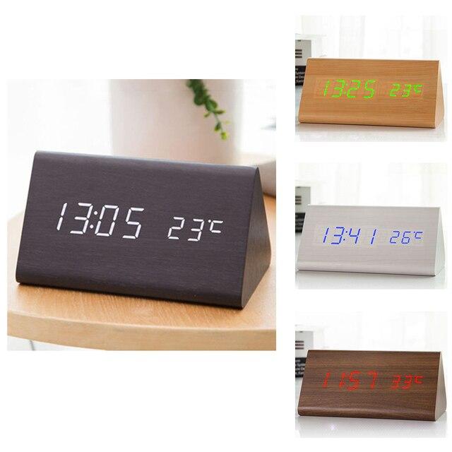 מעורר דיגיטלי שעון שולחני עץ LED שעונים זוהר בחושך שליטת קול אלקטרוני תצוגת מדחום בית תפאורה מתנה