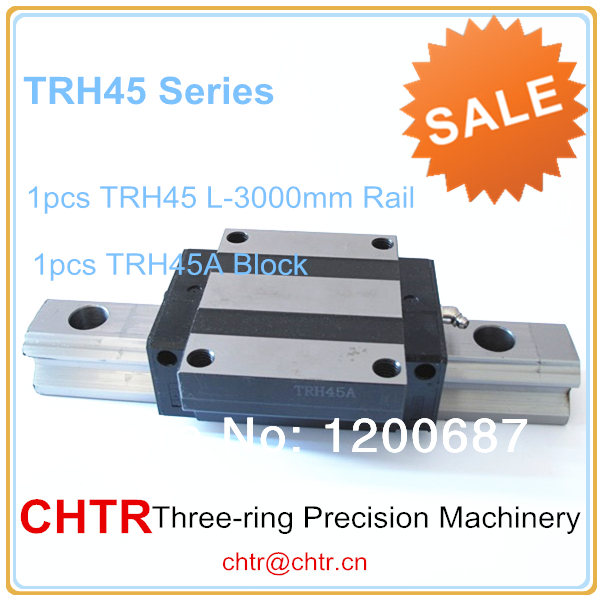 45mm Linear Long Guideway 1pc TRH45 Length 3000mm Linear Guide Rail+1pc TRH45A Flange Block/Carriage (can be cut any length) china quality guideway precision linear guide rail mgn7 length for 300mm with 2pc carriage mgn7c