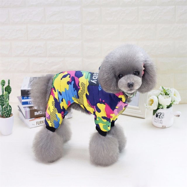 E3 Brand New Thickness Dogbaby Pet Four Legs Cotton Hooded Clothes Puppy Dog Winter Coat Jumpsuit for Chihuahua Teddy