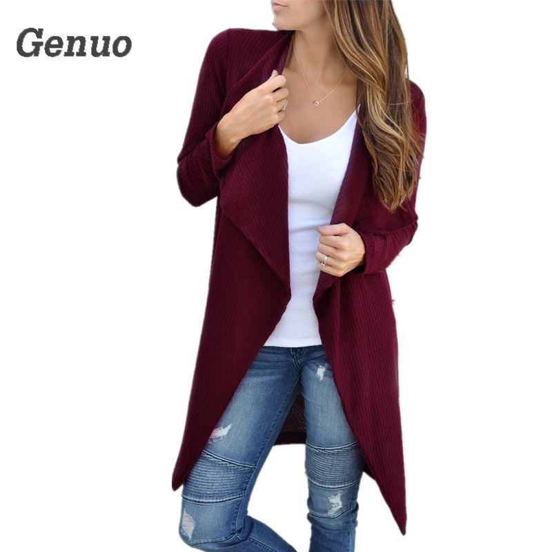 Genuo 2018 Spring Actumn   Basic     Jackets   Women Long Coat Windbreaker Cardigan Casual Outerwear Long Sweaters Coat