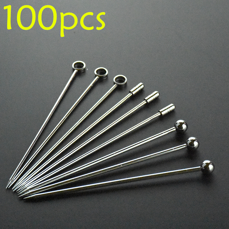 100pcs 10 7cm 11cm Cocktail Pick Stainless Steel Fruit Sticks Bar Tools Drink Stirring Sticks Martini Picks Party 3 color in Cocktail Picks from Home Garden