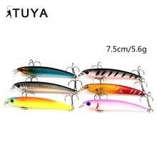 1pcs 7.5cm 5.6g Minnow Fishing lures pencil fish Artificial Bait 3D eyes short tongue Hard Bait wobbler popper Striped bass