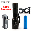 CREE XM-L T6 Bicycle Light 6000Lumens Bike Light 7modes Torch Zoomable LED Flashlight +18650 Battery + Charger + Bicycle Clip