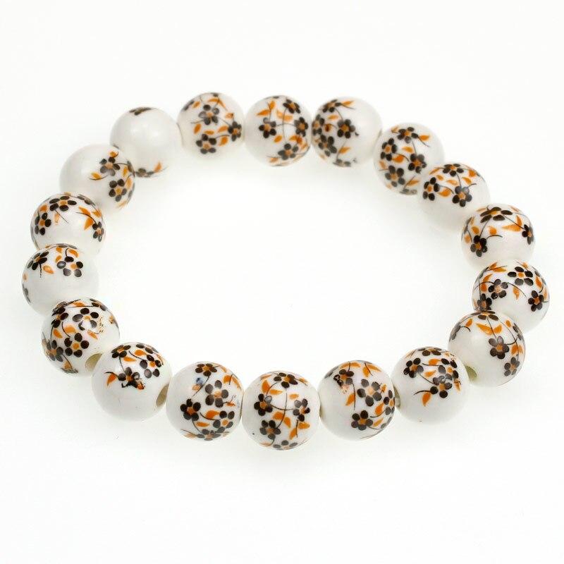 10mm Keramik Runde Perlen Elastischen Faden Armband Mit Orange Blume Muster Für Frauen Männer Oder Wie Es Ist Jeder Ausgezeichnet Im Kisseneffekt