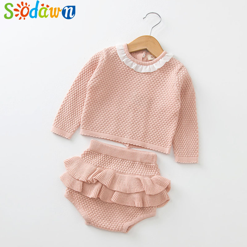 Sodawn 2018 New Spring Autumn Fashion Newborn Baby Clothes Long Sleeve Knit Sweater+Shorts Sets of Children Baby Clohting Set