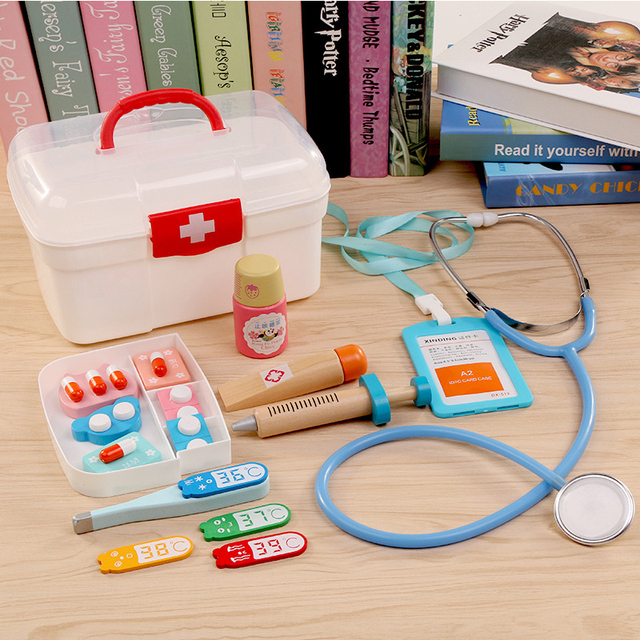 13Pcs Doctor Toys Children Pretend Play Kids Wooden Medical Kit Simulation Medicine Dentist Toy Set Boy Girl Educational Gifts