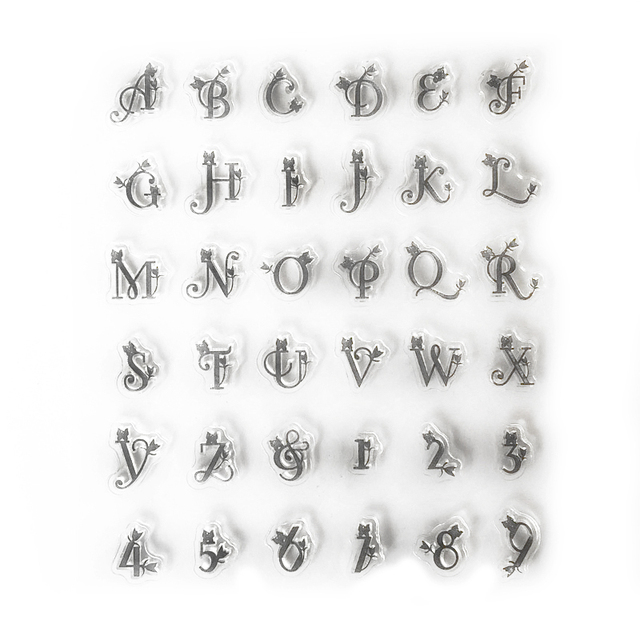 Pretty Letters and Numbers Transparent Clear Stamps for Scrapbooking - pretty lettering stencils
