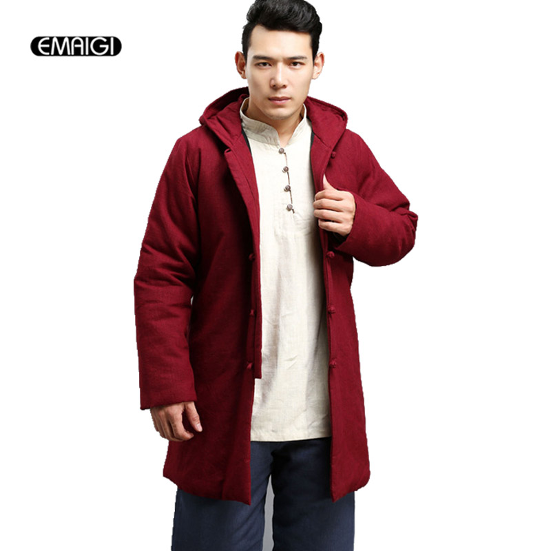 ФОТО New Winter Mens Parka Coat China Style Retro Cotton Padded Linen Male Hooded Thick Jacket