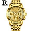 Мужские кварцевые часы с хронографом из нержавеющей стали  мужские наручные часы от ведущего бренда  роскошные золотые модные водонепрониц...