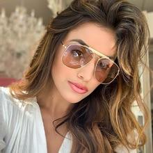 PAWXFB Fashion Oversized Pilot Sunglasses Women UV400 Retro Brand Designer Big Frame Sun Glasses For Female Ladies Eyewear