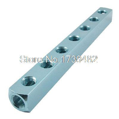 11.6mm 5/11 Threaded Ports 7 Way Air Compressor Cylinder Manifold Splitter air compressor 1 2bsp 2 way hose pipe inline manifold block splitter teal blue