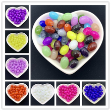 Wholesale 4x6/ 6x8 8x11mm Oval Rugby Glass Beads Pattern Spacer Loose Jewelry DIY Bracelet Necklace (18Colors)