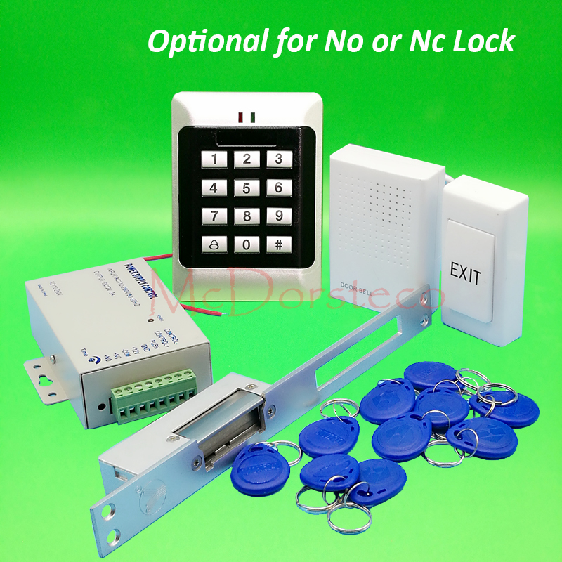 DIY Full Keypad Rfid Door Access control system Long type No NC Electric Strike Lock +Power supply+exit button+keyfobs
