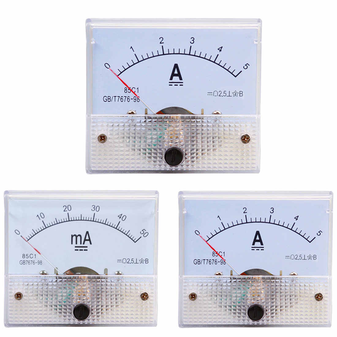1Pc DC Pointer Current Meter 5A/10A/15A/20A/30A/50A/100A Analog Ammeter Current Meter Gauge Measuring Tools
