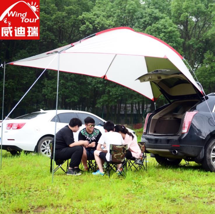 Extérieur Portable camping-car queue compte auto-conduite Tour Barbecue multi-personnes imperméable à la pluie ombre Gazebo plage auvent tente auvent