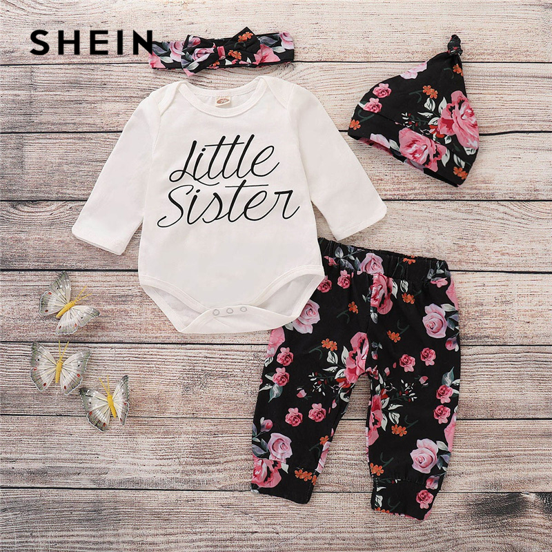 SHEIN Kiddie Toddler Girls Letter Print Jumpsuit And Pants And Hat And Headband 2019 Spring Long Sleeve Casual Kids Suit Sets retro rose print letter sleeveless fit and flare dress
