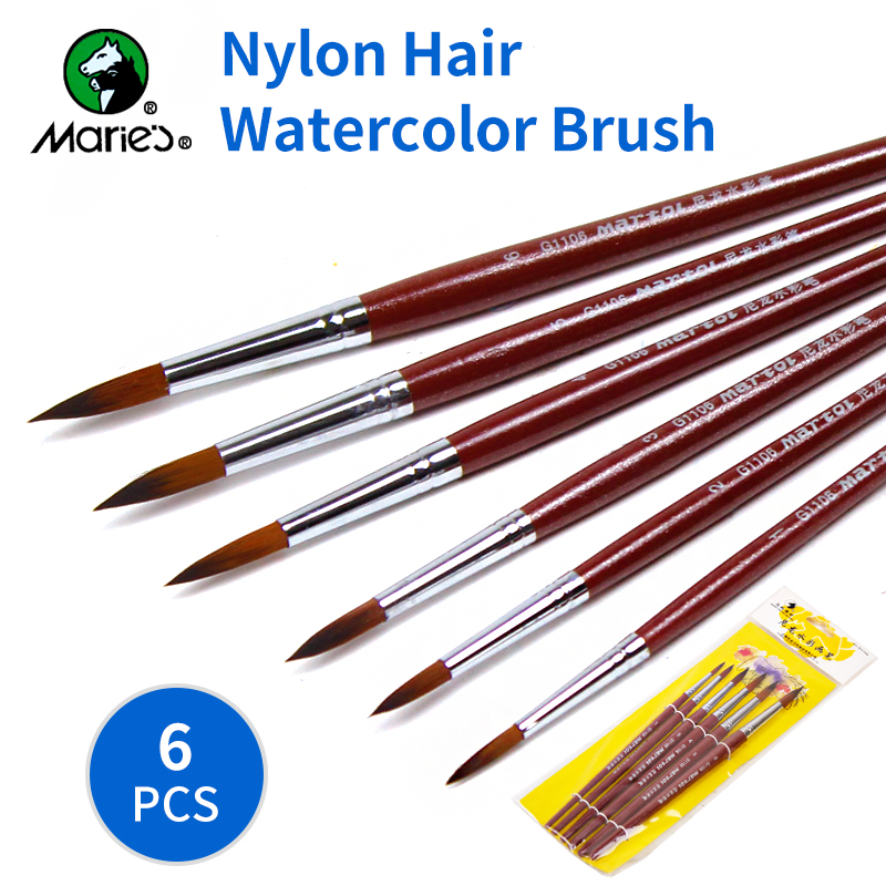 BGLN 6Pcs/set Nylon Hair Pointed Watercolor Paint Brush Set For Watercolor Oil Acrylic Painting Brush For School Art Supplies