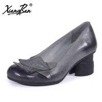 Пояса из натуральной кожи женский Обувь Повседневное Весна толстый каблук Для женщин Насосы 5 см с закрытым носком xiangban