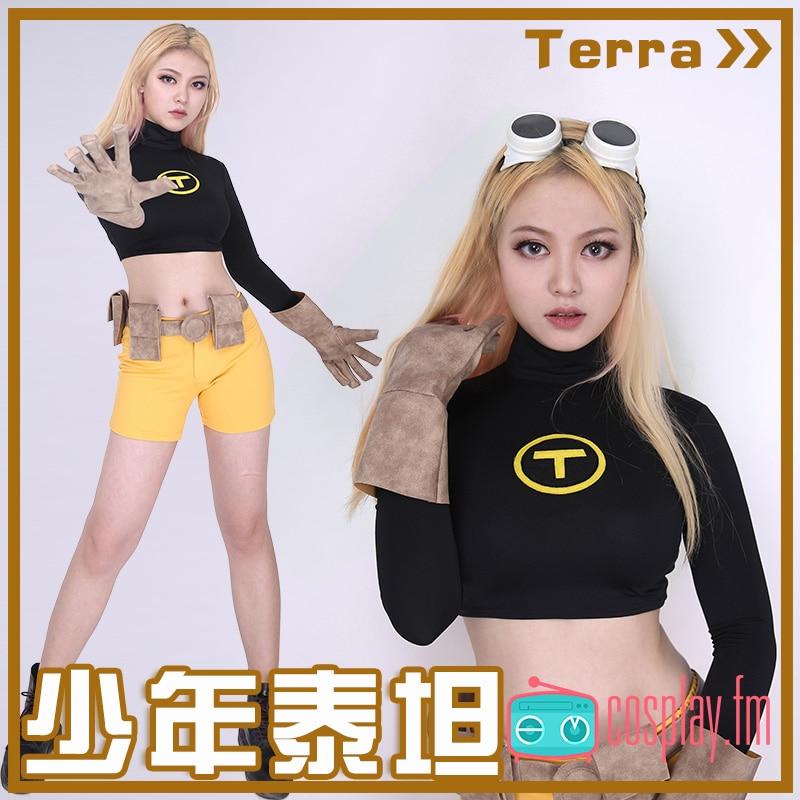 Terra Female Cosplay Costume Top Shorts