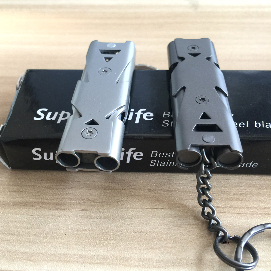 De Survie Whistle Keychain pour la Randonnée Camping Sports de Plein Air Outils EDC vitesse Double Canal Sifflet