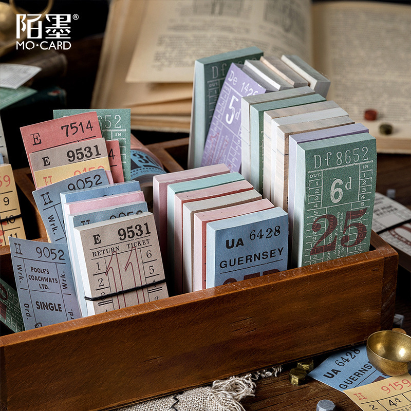 100sheets Retro Receipt Ticket Memo Pad Stub Sticky Notes Memo Post Note Paper Vintage Bill Words Phrases Stickers Office Supply