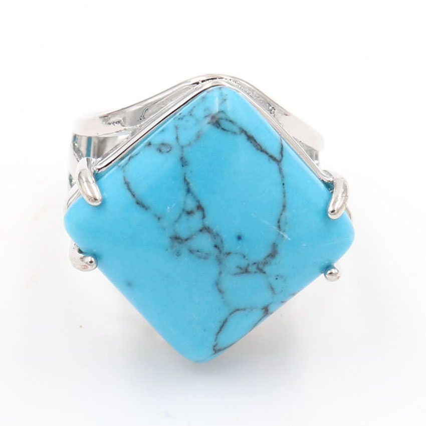 YJXP Silver Plated Rhombus Shape Adjustable Finger Blue Turquoises Stone Ring Engagement Jewelry