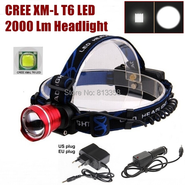 AloneFire HP87 Cree XM-L T6 LED cree led Headlight Headlamp With AC charger/car charger