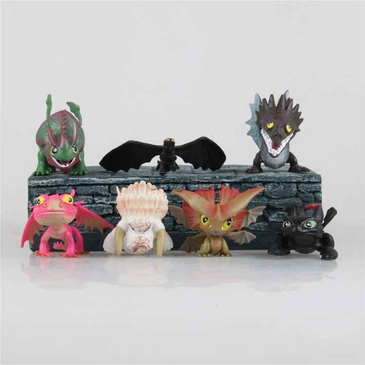 HOT Cartoon Movie How to Train Your Dragon Set of 7pcs Mini Action Figures PVC Doll