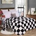 150x200cm black and white plaid super soft warm plaid printed coral fleece blanket on Sofa/Bed/Plane Travel Plaids patchwo