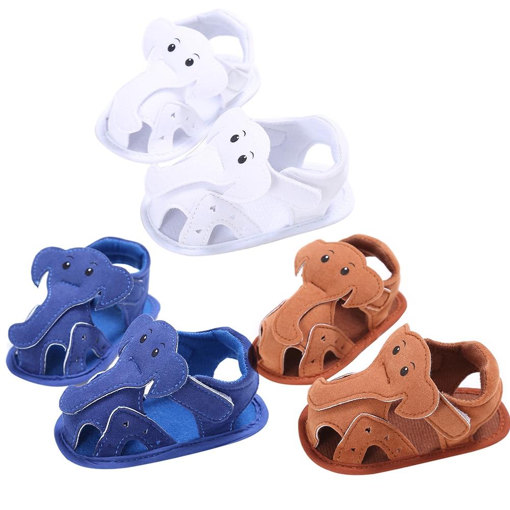Summer Infant Shoes Baby Boys Girls Soft Leather Cartoon Elephant First Walkers Skid-Proof Bebe Shoes Prewalker 3 Colors