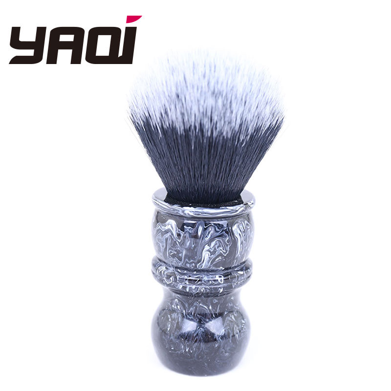 Yaqi 24MM Tuxedo Black And White Tip Synthetic Hair Marble Color Resin Handle Barber Shaving Brush